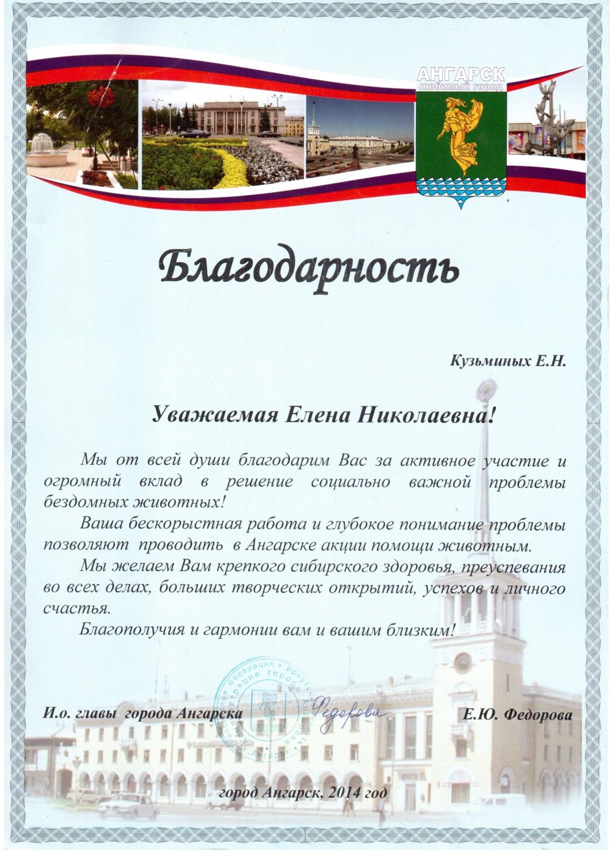 Благодарность Кузьминых Е.Н. 2014 г