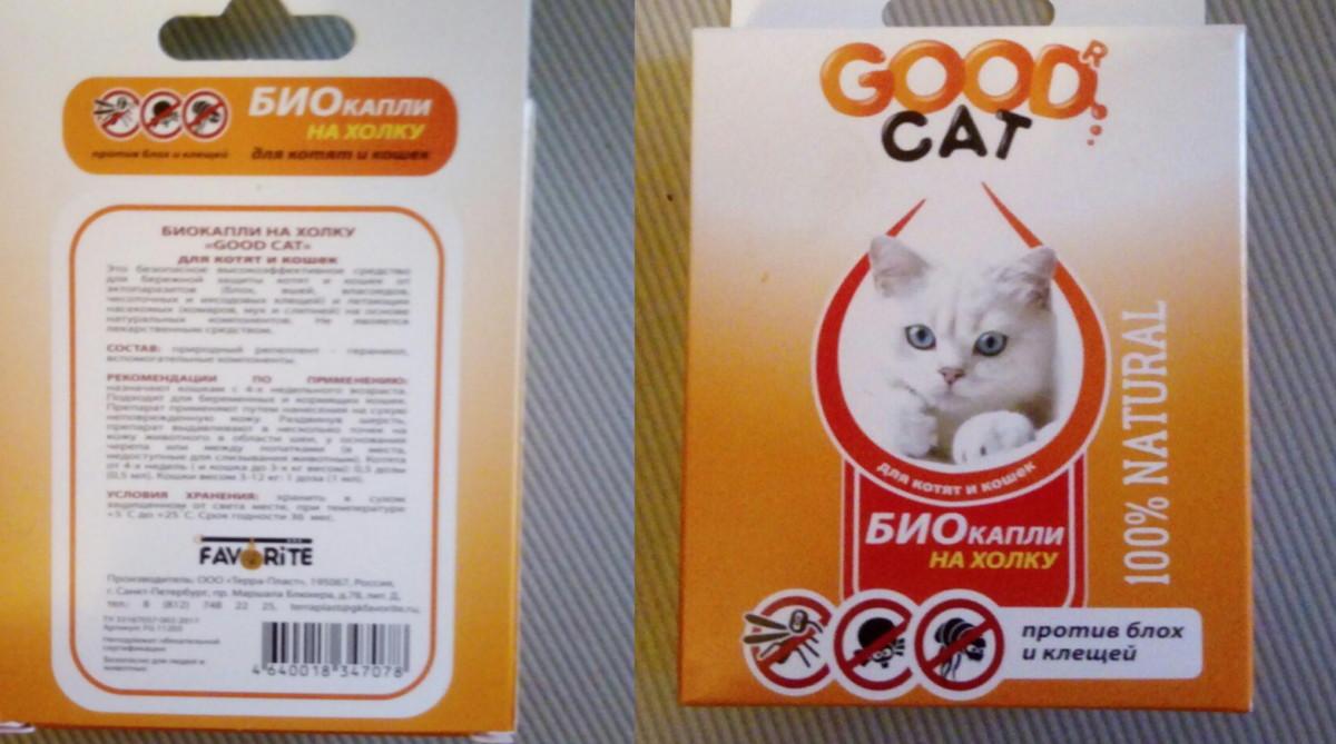 good cat био капли на холку протиа блох и клещей